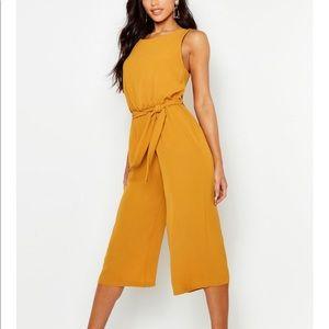 Boohoo mustard yellow jumpsuit with belt
